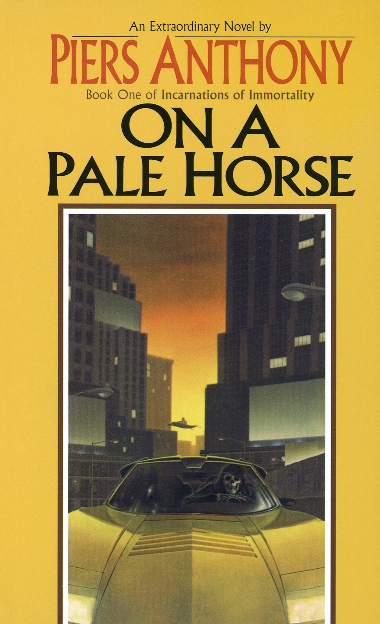 Pale Horse book cover.  An extraordinary novel by Piers Anthony. Book one of incarnations of immortality On A Pale Horse.